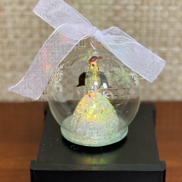 🎄NWOT LED Penguin Ornament Hand Blown Glass